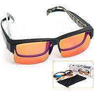 Fitover Anti-Blue Blocking Computer Glasses/w Flex Frame | Fits Over Prescription Eyeglasses | Amber Orange to Block Blue Light | Better Night Sleep & Reduce Eyestrain Migraine Headaches Insomnia
