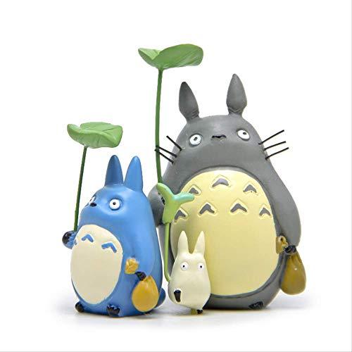 Yangzou 3 Unids Mi Vecino Totoro con Hoja Linda Figura Juguetes Studio Ghibli Miyazaki Hayao Anime PVC Figura De Accion Coleccion Modelo De Juguete