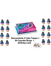 Descendants 3 Rebel Attitude Cake Topper Set Cupcake 24 Pieces plus Birthday Card