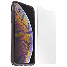 Otterbox Pack Clear Case. Funda Anti caídas Fina y Transparente/Violeta + Protector de Pantalla Cristal Templado Alpha Glass para iPhone XS MAX