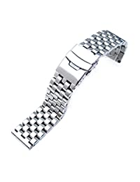 20mm Brushed Engineer Watch Bracelet, Solid 316l Stainless Steel Link, Straight End