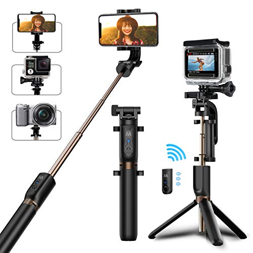 Selfie Stick Tripod, Matone Bluetooth Selfie Stick with Tripod Stand and Detachable Remote, Extendable Monopod for iPhone X/XS Max/XR/8 Plus/7/6S Plus, Galaxy S9/S9 Plus/S8, GoPro & Action Cameras