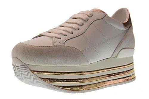 Hogan Zapatos Bajos de Las Mujeres con Zapatillas de Deporte Plataforma HXW3490J061I7X0989 H349 Bianco / Salmone