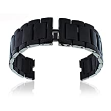 GOOQ® Stainless Steel Without Push-button 22mm Bracelet Wrist Watch Band Strap for Motorola Moto 360 Smart Watch Collection, Adjustable Length 18.5cm(7.3 inches) According to the Circumstance of Individual Wrist (Black)