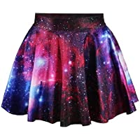 LaSuiveur Womens Digital Print Stretchy Flared Pleated Casual Mini Skirt