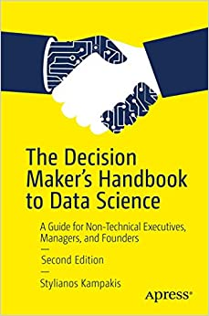 Book Cover - navy blue title on yellow background with illustration of a white hand shaking a black robot hand