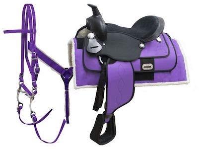 ME Enterprises 合成ウエスタン大人用馬タックバレルレース お揃いのヘッドストール 胸首輪 手綱 サドルパッド サイズ14~18インチ パープル 17\