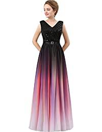 V Neck Long Sequined Chiffon A Line Corset Prom Evening Dresses