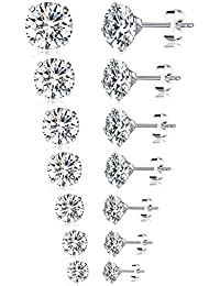 6-7 Pairs 20G Stainless Steel Stud Earrings Round Square Cubic Zirconia Earring Set For Men Women 2MM-8MM