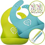 Silicone Bibs For Babies | Adjustable Waterproof Bib Easily Wipes Clean | Soft Spoon Promotes Baby Led Weaning | Less Time Cleaning Up After Toddler | Bonus Self Feeding Spoons & Reusable Food Pouches