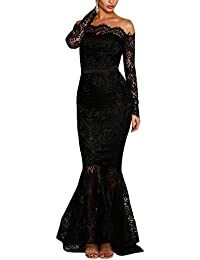 Womens Floral Lace Long Sleeve Off Shoulder Wedding Mermaid Dress