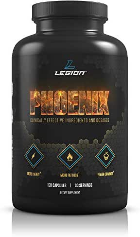 Legion Phoenix Fat Burner & Thermogenic Weight Loss Pill (Caffeine Free) Appetite Suppressant - 100% Natural & Scientifically Validated Formulation with Forskolin, Naringin, More - 30 Svgs