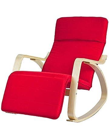SoBuy® sillón de relada, Silla de relada, mecedora, con Organizador colgante,