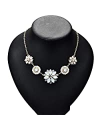 FENICAL Women Flowers Necklace Crystal Pendant Exquisite Elegant Wedding Gifts