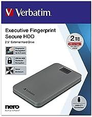 Verbatim Executive Fingerprint Secure HDD – 2 TB – grå – extern hårddisk med fingeravtrycksskanner – USB 3.1 GEN 1 – för Windows och Mac OSX – bärbar hårddisk – USB-C hårddisk