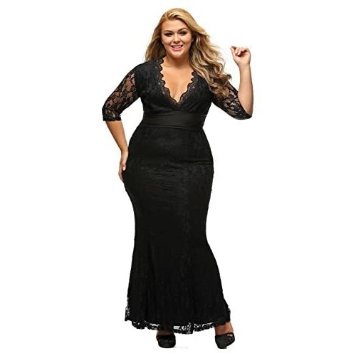 Cfanny Womens Elegant Floral Lace 2/3 Sleeves Bridesmaid Evening Party Plus Size Dress,