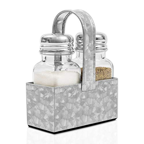 Farmhouse Salt and Pepper Shaker Set with Premium Padded Caddy, Galvanized Metal and Glass - Rustic Vintage Restaurant and Kitchen Table Decor by Walford Home