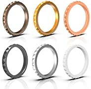 ARUA Thin Silicone Wedding Rings for Women 6-Pack Stackable Silicone Rings, Diamond Pattern – Fashion Rubber W