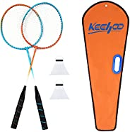 KH 2 Player Badminton Rackets Set for Adults Kids, Lightweight & Sturdy, 2 Racquets, 2 Shuttlecocks and Ca