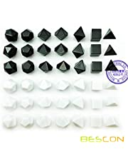 Bescon Blank Polyhedral RPG Dice Set 42pcs Artist Set, Solid Black and White Colors in Complete Set of 7, 3 Sets for Each Color, DIY Dice