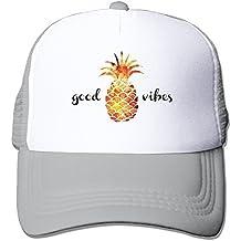 Adult The Pineapple Good Vibes Adjustable Mesh Hat Trucker Baseball Cap Ash