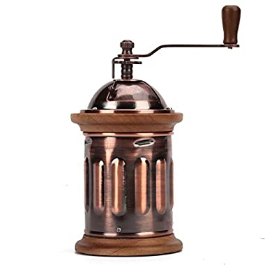3E Home Manual Canister Stainless steel Burr Coffee Mill Grinder, Stainless Steel Top, and Antique Copper Body