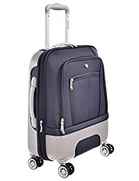 "Swiss Travel Products Navy Blue 20"" 8 Wheel Hybrid Rolling Suitcase"