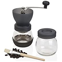 Jumbl™ Ceramic Coffee Mill, Hand Crank Manual Burr Coffee Grinder - Adjustable to Different Grind Sizes Includes Brush for Easy Clean