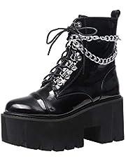 Womens Goth Punk Platform Combat Chunky Lace Up Hakken Enkellaarsjes Leer Dikke Hak Hoge Hak Laarzen Uitgerust Met Ijzeren Ketting