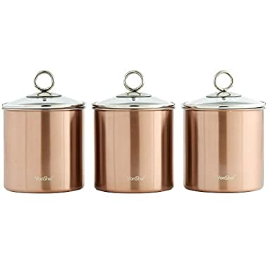 VonShef Set of 3 Copper Tea, Coffee & Sugar Canisters/ Kitchen Storage Jars with Glass Lids - Stainless Steel