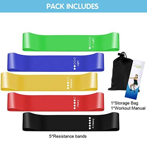 Frebw Mini Resistance Loop Bands,Premium Exercise Fitness Band Best for Stretching, Crossfit, Pilates, Yoga, Physical Therapy, Home Gym