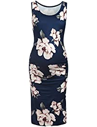 f4f1cdc83bb Women s Maternity Sleeveless Flower Tank Dresses Side Ruching Bodycon Dress  For Daily Wearing Or Baby shower