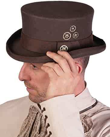 Arsimus 100% Wool Steampunk Top Hat with Brown PU Leather Band and Gears 33af5f6023ec