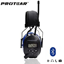 Protear Blue Earmuff Defender with Bluetooth & Radio AM/FM Digital Display, Noise Reduction for Shooting, Hands-free Calling and Radio NRR 25dB