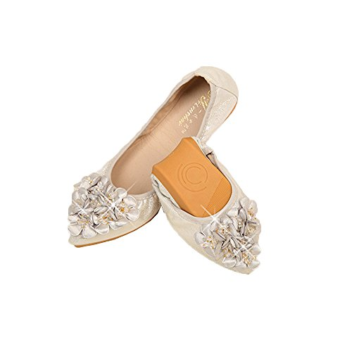 Womens Rhinestone Flats Ballet Foldable Pointed Soft Pointed Foldable Toe Slip On Loafer B07FJ6TH2F Shoes a79578