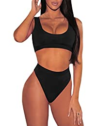 Women's Crop Top High Waisted Cheeky Bikini Set Two Piece...