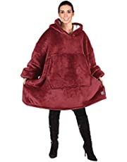 HENGYAN Oversized Hooded Blanket Sweatshirt, Super Soft, Comfortable, Comfortable Sherpa Giant Pullover with Large Front Pocket, Suitable for Adult Men, Women, Teenagers, Kids, Burgundy