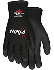 Memphis Glove N9690L Ninja Ice 15 Gauge Black Nylon Cold Weather Glove, Acrylic Terry Inner, HPT Palm and Fingertips, Large, 1 Pair