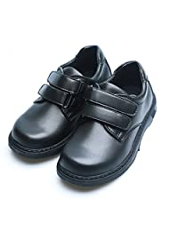 Happystep® Toddler Little Boy School Uniform Black Formal Dress Shoes Monk Strap