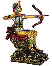 تحفة فرعونية صناعة يدوية مصرية من البورسلين من جولدن توت، المحارب ذو الرمح، مقاس صغير 14 سم - ذهبي