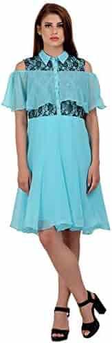 9dc2121af76 RADANYA Women s Short Dress Georgette Wear Off The Shoulder Evening Party  Dress S-5XL Sky