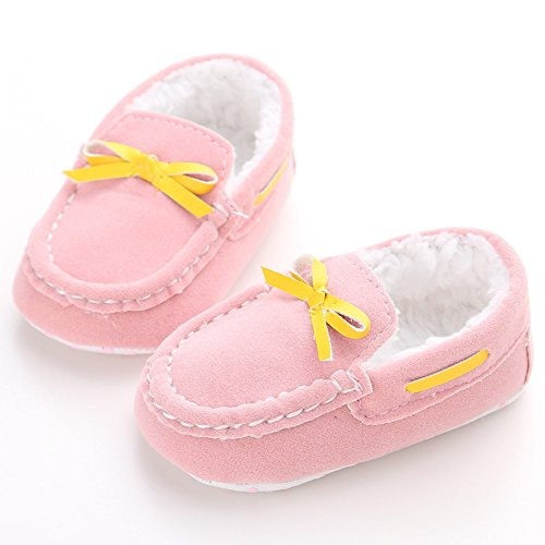 Lidiano Baby Winter Warm Dull Polish Vamp Non Slip Soft Sole Toddler Crib Shoes First Walker with Bow  Tassels (0-6 Months, 2 Pink)