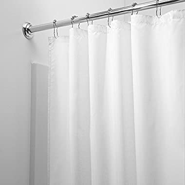 Shower Curtain, Fivanus Lock Hole Heavy Duty Bathroom Curtain Liner, Mildew Resistant Washable Polyester Fabric Shower Curtain (72 x 72 inch) White