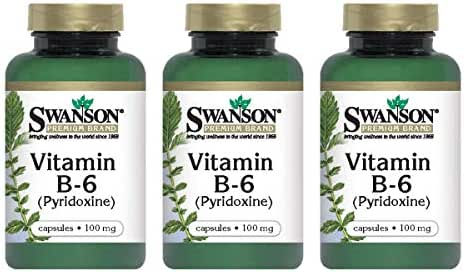 Swanson Vitamin B-6 (Pyridoxine) 100 Milligrams 100 Capsules (3 Pack)
