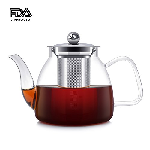 Glass Teapots,ESEOE 1000ml Tea Pots with Stainless Steel Infuser for Loose Tea, Glass Tea Maker for Brew Cold and Hot Tea,Stovetop Safe Pot for Tea 34oz