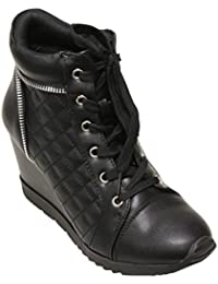 Women's Forever Peggy Adriana Hidden Wedge Lace Up Side Zip Accent New Fashion Sneakers Boot Shoes