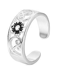 INBLUE women's 925 Sterling Silver Toe Rings Open Rings Tail Ring Flower Adjustable