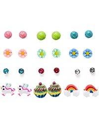 Women's Girl's Assorted Multiple Ball Daisy Rose Flower Pearl Stud Earring Set 12 Style/pack