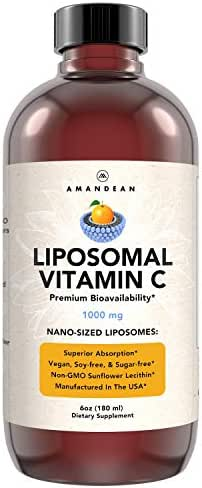 Amandean Liposomal Vitamin C Supplement 1000mg - Liquid Antioxidant Delivery for Increased Bioavailability. Promotes Skin Health & Collagen Production. Soy Free Formula. Non-GMO. (Packaging May Vary)