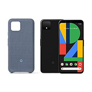 Google GA01187-US Pixel 4 - Just Black - 64GB - Unlocked with Pixel 4 Case, Blue-ish